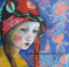 The Poppy Hat- Original mixed media painting by Maria Pace-Wynters