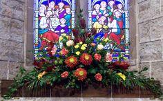 St Giles, Ludford, wedding in November 2012 - arrangement on windowsill opposite door.