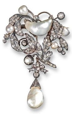 A Victorian natural pearl and diamond foliate brooch, the leaves set with graduated old cushion-shaped diamonds amongst natural pearls. Suspending a further natural pearl drop. #Victorian #antique #brooch