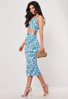 e7bfc34c5ec Missguided Blue Porcelain Print One Shoulder Crop Top And Midaxi Skirt Co  Ord Set