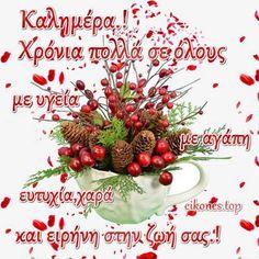 Χριστουγεννιάτικες εικόνες για καλημέρα.! - eikones top Christmas Wishes, Merry Christmas, Greek Quotes, Xmas Decorations, Diy And Crafts, Fruit, Pictures, Festive, Motorbikes