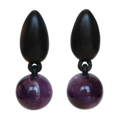 Monies One-of-a-Kind Ebony and Amethyst Clip Earrings | From a unique collection of vintage clip-on earrings at https://www.1stdibs.com/jewelry/earrings/clip-on-earrings/