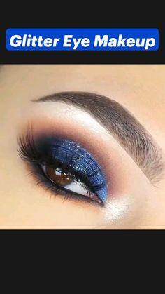 Navy Blue Makeup, White Eye Makeup, Soft Eye Makeup, Blue Makeup Looks, Blue Glitter Eye Makeup, Blue Eyeshadow Makeup, Cut Crease Eyeshadow, Glitter Makeup Tutorial, Smokey Eye Makeup Tutorial