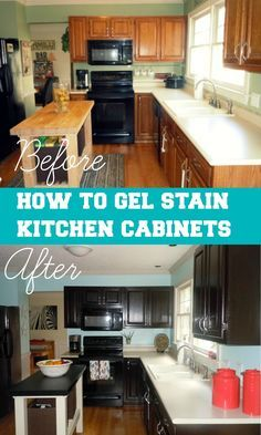 How To Gel Stain Your Kitchen Cabinets. Java Gel Stain by General Finishes Kitchen Redo, Kitchen Remodel, Kitchen Design, Kitchen Ideas, Kitchen Decorating, Decorating Ideas, Stained Kitchen Cabinets, Gel Stain Cabinets, Oak Cabinets