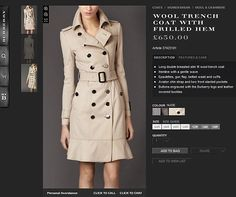 Sold out: The Burberry website shows that the trenchcoat Kate wore is sold out in sizes four, six, eight and 10