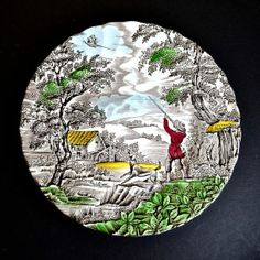 eight (8) inches The hunter Myott plate... i am looking for these EXACT SAME plates to complete my set.. if anyone have some for SALE please let me know! :) Carole