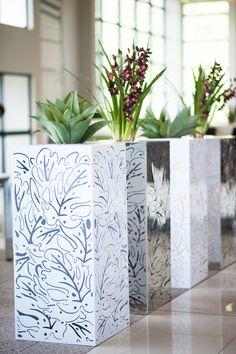 Metallics Botanics range of steel & Stainless steel planters. www.blooming-beautiful-flowers.co.za