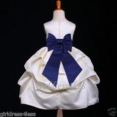 Flower Girl dress w/ Navy Blue Sash