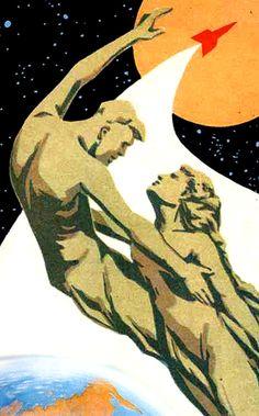Soviet Space Program propaganda poster (To the Stars) (USSR) Communist Propaganda, Propaganda Art, Cold War Propaganda, Vintage Posters, Vintage Art, Comics Illustration, Illustrations Posters, Russian Constructivism, Socialist Realism