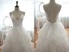 A Line V Neck Wedding Dress Leak Back Wedding Gown