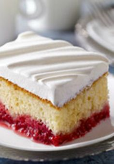 Raspberry Cake — Strawberry JELL-O and fresh raspberries give this moist cake an even moister fruity bottom layer. Bonus: This dessert recipe is ready to bake after just 10 minutes of prep.