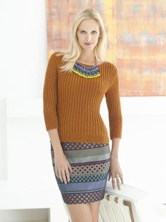 This classic ribbed top is so versatile, it will become your go-to! Make it now with Vanna's Glamour and save for a limited time! Free knit pattern calls for 5 - 7 balls of yarn and size 4 knitting needles. Lion Brand Free Patterns, Knitting Patterns Free, Knit Patterns, Free Knitting, Dress Patterns, Knitting Sweaters, Knitting Ideas, Knitting Needles, Knitting Projects