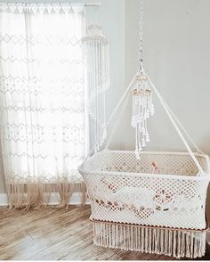 This stunning home is a macrame haven! You can never have too much macrame! Macrame Art, Macrame Design, Macrame Projects, Baby Bedroom, Baby Room Decor, Kids Bedroom, Bedroom Curtains, Baby Basinets, Hanging Crib