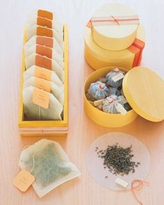 "DIY ""Tub Teas"" by Martha Stewart. Simple, less expensive way to have your organic/natural teas."