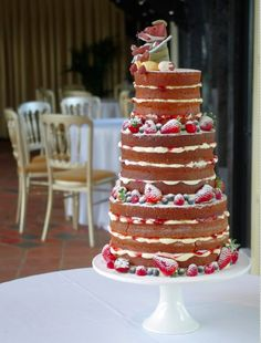 Naked cake with berries.