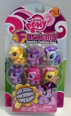 "My Little Pony Friendship is Magic Mash'ems ""Fash'ems Bonus Pack Series One"" with Applejack, Alicorn Twilight Sparkle, Rarity, Unicorn Twilight Sparkle, Pinkie Pie, and Fluttershy ""Squishy Fashion Fun"" figures.  No Dashy?  Also available in blind bag version.  #mylittlepony #friendshipismagic #cute"