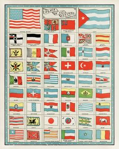 Vintage Flags of All Nations Collection, 1901 - Art Print Image Rock, Acrylic Wall Art, Clear Acrylic, Vintage Flag, Thing 1, Vintage Drawing, Mode Shop, Office Wall Decor, Canvas Prints