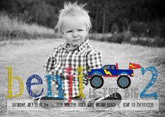 Monster Truck Pencil - custom kids photo birthday party invitation invite - DIY design, print service available. $17.00, via Etsy.