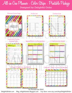All in One - Colorful Stripe - Planner (21 pages) PDF Printable Files - Instant Digital Download