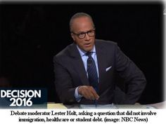 Debate Moderator Lester Holt Asks Zero Questions About Poverty, Abortion, Climate Change   Black Agenda Report