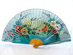 Hand Painted Fans From Spain   Vintage Spanish Fan Hand Painted Wood Flamenco Dancer's Folding Fan ...