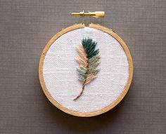 Blue and Gray Feather Embroidery Hoop Art - Cool Tones Rustic Farmhouse Decor - 3 inch hoop - Modern Bohemain - Peach and Gray