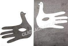 Handprint Paper Black and White Pigeons Craft Project – Cool Ideas How to Make Handprint Paper Black and White Pigeons