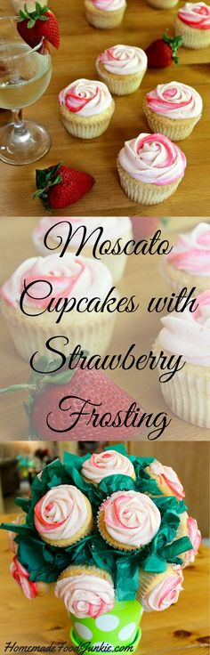 Moscato Cupcakes with Strawberry Frosting made from scratch with real strawberries Light and fluffy and amazing flavor A perfect desserts recipe for a special event or pa. Mini Desserts, Brownie Desserts, Just Desserts, Dessert Recipes, Baking Desserts, Wine Recipes, Strawberry Frosting, Strawberry Cupcakes, Yummy Cupcakes