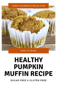 Easy healthy pumpkin muffin recipe with no sugar and no flour. This blender muffin recipe is perfect for fall. Make flourless muffins with oatmeal and chia seeds and Greek yogurt. This is a gluten free and low carb snacks or desserts perfect for kids or toddlers too. It's made with oats and no egg. This is the best healthy pumpkin muffin recipe, and it's simple too. #pumpkin #muffin
