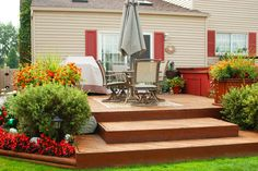 Wide steps going up to the deck make for an extra seating area Deck Steps, Backyard, Patio, Extra Seating, Decking, The Great Outdoors, Landscaping, Sweet Home, Gardening