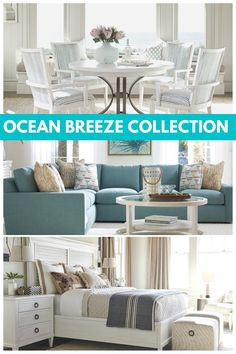 The Ocean Breeze collection has a clear vision — its a lifestyle of elegance that embraces the laid-back vibe of coastal enclaves like Malibu and Cape Cod. Interior Design Tips, Tommy Bahama, Cape Cod, Breeze, Mattress, Coastal, Ocean, Pillows, Lifestyle