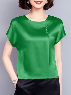 Fashionable Pure Color Smooth Beading Short Sleeve Casual T-shirts Online - NewChic Mobile Chic Outfits, Fashion Outfits, Womens Fashion, Blouse And Skirt, Mode Hijab, T Shirts For Women, Clothes For Women, Casual T Shirts, Tshirts Online