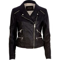 River Island Black leather-look biker jacket (€48) ❤ liked on Polyvore featuring outerwear, jackets, leather jackets, tops, black, sale, black jacket, faux leather moto jacket, tall motorcycle jacket and vegan moto jacket