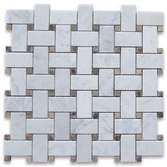 Carrara White 1x2 Basketweave Mosaic Tile w/ Emperador Dark Dots Honed - Marble from Italy