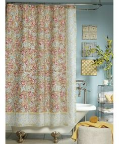 A dramatic floral print is framed with an elegant medallion border on this Marina shower curtain from Jessica Simpson that puts a striking finish on your bathroom's tasteful decor. Space Furniture, Walk In Shower Designs, Curtains, Shower Curtain, Vintage Bathroom, Mattress Furniture, Shower Design, Shower Liner, Vintage Shower Curtains