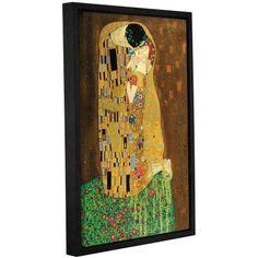 ArtWall Gustav Klimt The Kiss Floater Framed Gallery-Wrapped Canvas, Size: 26 x 40, Green