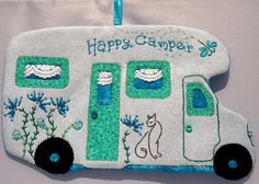 Happy Camper 51 Mug Rug by QuiltinCats on Etsy