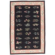 ecarpetgallery Hand-made Hereke Kilim Black Wool Kilim (5'7 x 8'7)