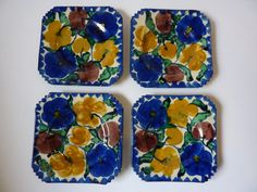 4 Mexican Majolica Dessert Plates.