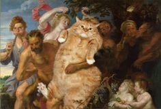 Vadsige kat in oude meesterwerken gephotoshopt