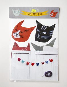Illustrated cat garland kit