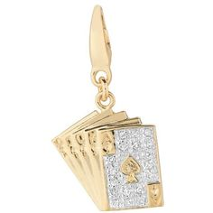14k Gold over Silver 1/10ct TDW Diamond Playing Cards Charm ($69) ❤ liked on Polyvore featuring jewelry, pendants, white, charm pendant, gold jewelry, white gold charms, 14k gold charms and 14k yellow gold charms
