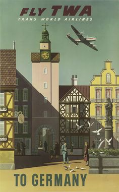 fly TWA to Germany (airline poster)