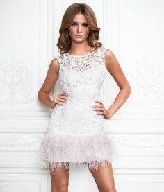 Loving the lace and feathers on this dress from the Lipsy V.I.P. Collection. Millie looks gorgeous in it.