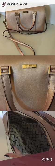 authentic Kate Spade rose gold bag Authentic Kate Spade bag that my boyfriend got me for Christmas from the Kate Spade store. Gorgeous metallic rose gold with gold hardware and black and white interior. Comes with shoulder strap as well. Worn twice, in perfect condition. Selling because it doesn't fit my style. kate spade Bags Satchels