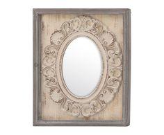 Espejo de pared Halia - natural y beige. Medidas:  Largo: 28 cm Alto: 48 cm Ancho: 28 cm