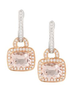 18k Rose Gold Pave Diamond Morganite Earrings by Frederic Sage at Neiman Marcus.