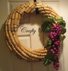 CHOOSE your GRAPES and SIZE! Handmade Wine Cork Wreath, With Grapes Included, You Choose The Color! - pinned by pin4etsy.com