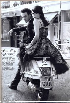 Luke Evans and Gemma Arterton (for the film Tamara Drewe), such a great shot! I need to get a vespa lol ;)