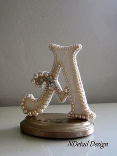 Custom Wedding Cake Topper Monogram Letter A Vintage Ivory Pearl, Lace & Rhinestone Brooch for Rustic, Country or Shabby Chic Wedding Shower
